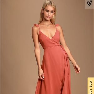 LuLus Rusty Rose Tie Wrap Maxi Dress